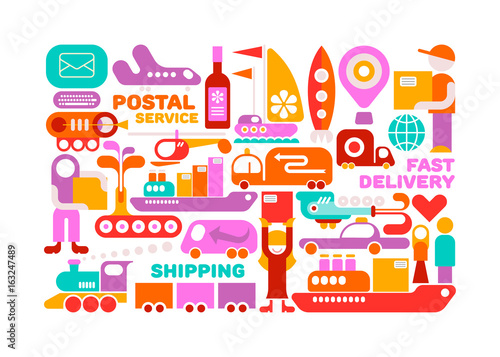 Foto op Canvas Abstractie Art Shipping Service vector illustration