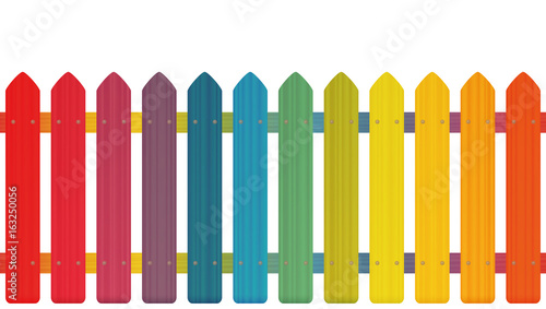 Rainbow colored picket fence with wooden texture, seamless extendable to endless pattern - isolated vector illustration on white background. - 163250056