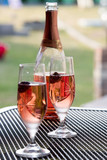 Wine glasses on table at garden in a sunny day - 163251684