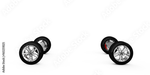 concept car painted red body and primed parts near isolated on white background 3d render