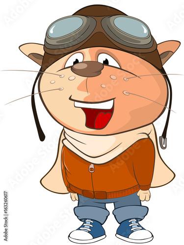 Illustration of a Cute Cat Aircraft Pilot. Cartoon Character