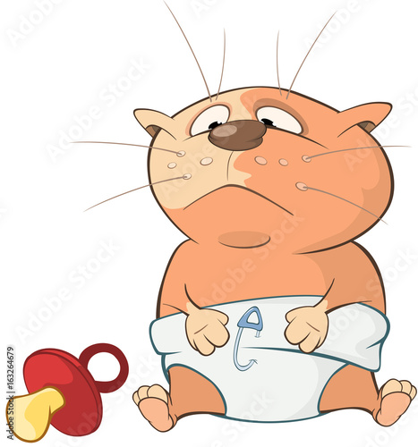 Illustration of a Cute Cat. Cartoon Character