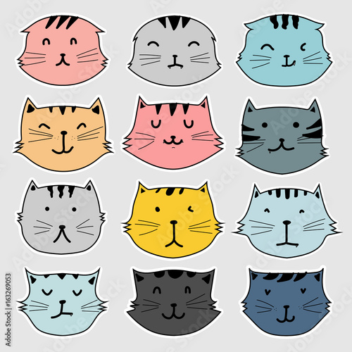 Set Of Sticker, Cute Cat Vector Illustration. - 163269053