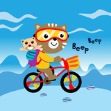 cute animals go to school with bicycle. vector illustration