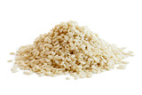 Heap of decorticated sesame seeds isolated on white. - 163270024