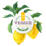 Veggie food round emblem over lemon tree branch background - 163271213
