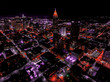 Drone view of Atlanta Skyline at night- enhanced colors and vivid imagery