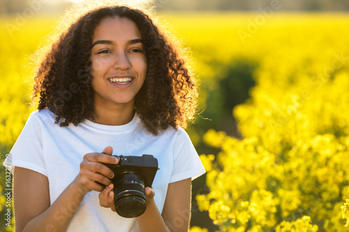Beautiful Mixed Race African American Girl Teenager Using Camera
