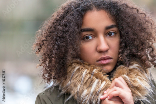 Sad Mixed Race African American Teenager Young Woman