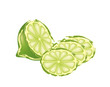 Half lime and slices on white background - 163278205