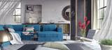 Living room, interior design 3D Rendering - 163278278