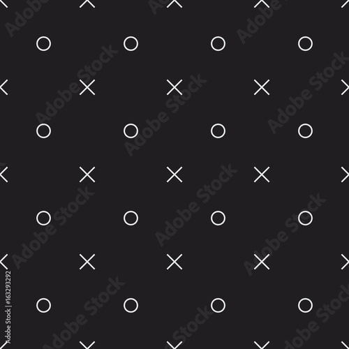 Memphis style seamless vector pattern with letters x and o. Minimal decorative texture for print, invitation, textile, fabric, wallpaper, card, poster, home decor, packaging, and wrapping paper. - 163293292