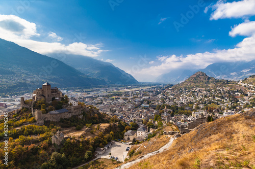 Tuinposter Canyon Aerial view of the old town of Sion city and the Valere Basilica