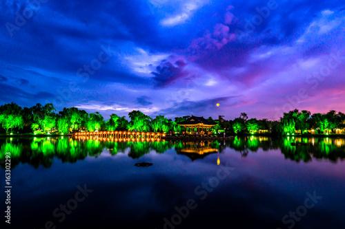 Sunset in the pond of Gungnamji in Buyeo, Korea.