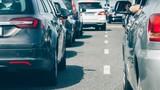 Cars in traffic jam row waiting
