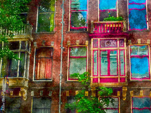 Beautiful vintage windows of a house on one of the streets of Amsterdam. Watercolor. Oil painting style. - 163306028