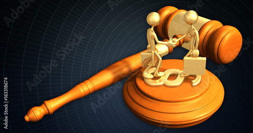 Handshake Business Law Concept The Original 3D Characters Illustration
