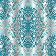 Light Baroque seamless pattern. Silver drapery damask background. Floral 3d wallpaper illustration with vintage blue beige flowers, scroll swirl leaves and antique Baroque ornaments. Vector texture. - 163318869