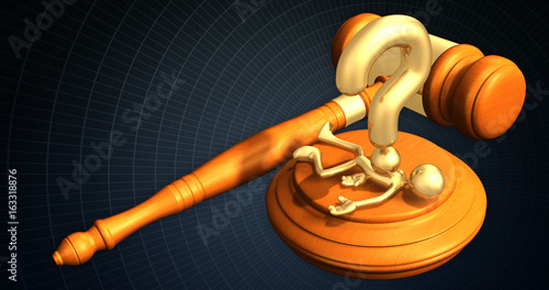 Legal Concept With The Original 3D Character Illustration Under A Question