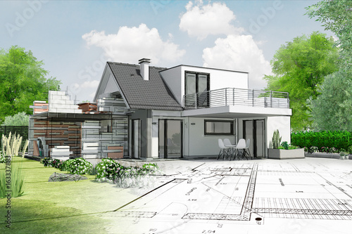 Naklejka Esquisse de maison par architecte