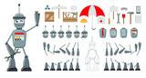Cartoon Robot Flat Constructor  Heads  Emoji Bodies Legs Hands Additional Elements  Tools Umbrella Phone Spinner Box Envelope Notebook Signboard  Illustration Wall Sticker