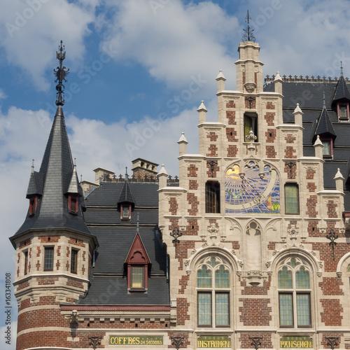 Detail of ancient historic buildings along the Montagne de la Cour (Hofberg) in Brussels.