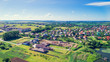 Small village in the countryside on top view shot from a drone. - 163342010