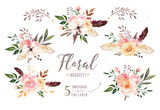 Hand drawing isolated boho watercolor floral illustration with leaves, branches, flowers. Bohemian greenery art in vintage style. Elements for wedding card. - 163345211