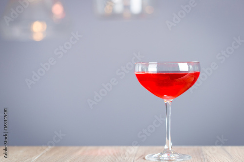 Horizontal View of Red Cosmopolitan Cocktail, Free Space for Text