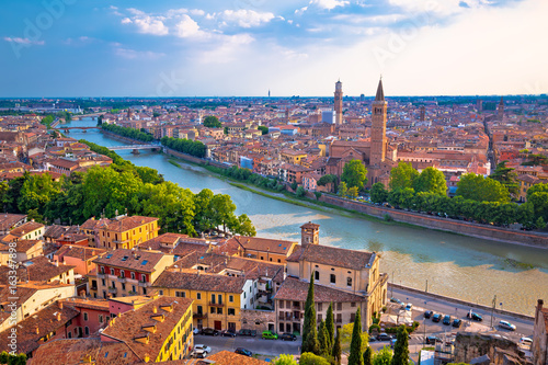 Staande foto Rome Ciy of Verona and Adige river aerial view