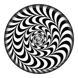 Radial Spiral Vector Psychedelic Illustration. Comic Rotation Effect. Black And White Twirl Rays Background. - 163349899