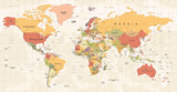 World Map Vintage Vector. Detailed illustration of worldmap - 163350454