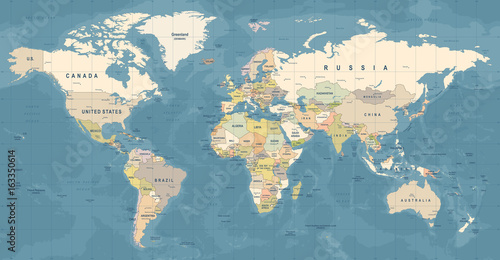 Naklejka World Map Vector. Detailed illustration of worldmap
