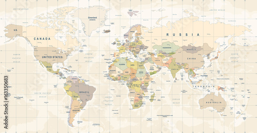 World Map Vector. Detailed illustration of worldmap - 163350683