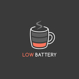 Coffee mug displayed as low battery icon vector illustration