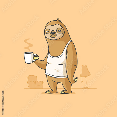 Sad sloth cartoon character holding cup of morning coffee vector illustration