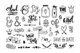 Hand drawn vector catchwords and ampersands. Graphic design elements, flowers, arrows, dividers, laurels - 163354039