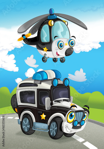 Cartoon police car smiling looking on the road and helicopter flying over - illustration for children - 163355608