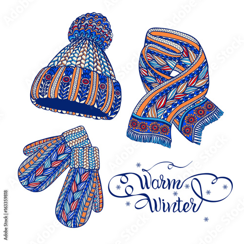 Warm hat mittens scarf color doodle