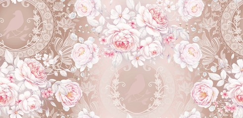 Seamless pattern with white roses 3