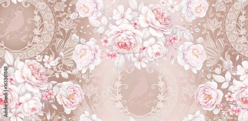 Fototapeta Seamless pattern with white roses 3