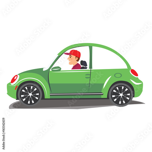 Plexiglas Auto Young man driving green car. Vector illustration of a cheerful man driving on isolated background