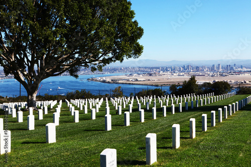 San Diego with Fort Rosecrans National Cemetary in front Poster