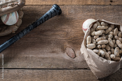 baseball wood background with peanuts