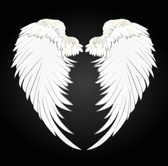 Wings. Vector illustration. Black and white style