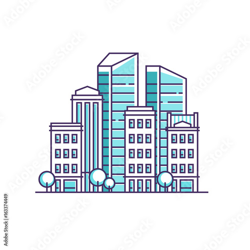 City landscape. Real estate and construction business concept with houses. Vector illustration.