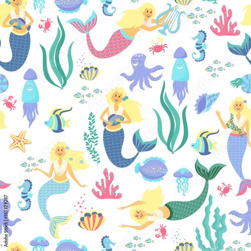 Cotton fabric Cartoon mermaid seamless pattern on transparent background. Vector illustration