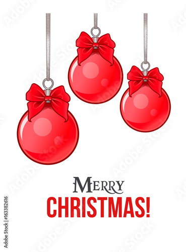 Hanging Christmas balls with bows and greeting text. Isolated vector illustration.