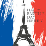 Happy Bastille Day greeting card. 14th of July brush stroke holiday background in colors of the national flag of France with Eiffel tower. Vector illustration.
