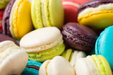 Lot of colorful macaroons. Traditional french dessert - 163387092